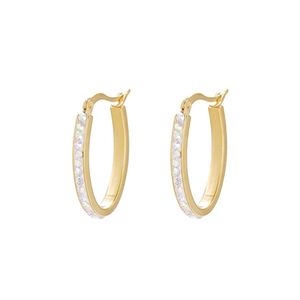 E-582 XUPING stainless steel 24k gold plated earrings hoop,mini stainless rhinestone stud fashion hoop earring for women