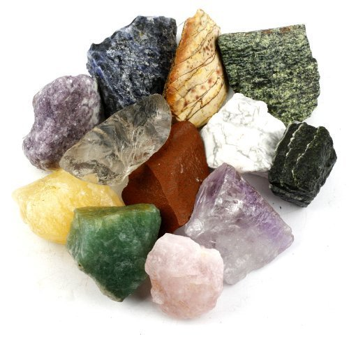 "Crystal Allies Materials: 3 Pounds (BEST VALUE) Bulk Rough 10-Stone Assorted Brazilian Mix w/ Amethyst, Clear Quartz, Rose Quartz, Blue Quartz, Green Quartz, Sodalite, Orange Calcite, Fuchsite, Red Jasper & Citrine - Large 1"""