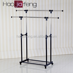 Quality stainless steel clothes hanger floor standing Double pole coat hanging rack Wholesale