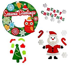 CHRISTMAS CLASSROOM DECORATIONS-3D PAPER WREATH FOR BULLETIN BOARD OR DOOR AND GEL WINDOW CLING BUNDLE-SANTA WITH WINTER SNOW FLAKES, CHRISTMAS TREE WITH PRESENTS, ORNAMENTS, AND MERRY CHRISTMAS!