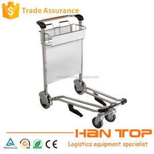 Stainless steel 4 wheels airport baggage trolley with brake HAN-AT18 591