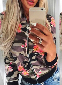 B30665A European and American ladies new fashion flower camouflage round collar zipper jacket