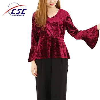 b4b05912e68c8c 2019 New designs fashion clothes v-neck tops fall winter flare sleeve red velvet  blouse