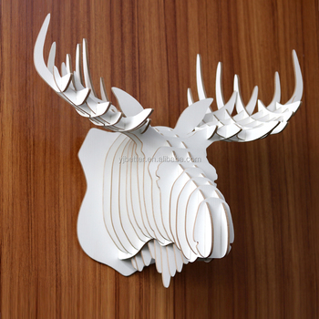 Diy Wooden Puzzle Animal Alaskan Moose Head Wall Hanging Home Decor Wood Rhino Decoration Carved