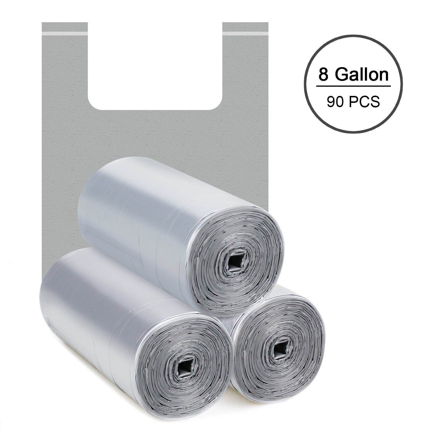 Topgalaxy.Z 5 Gallon Handle-Tie Small Trash Bags,0.8 Mil Extra Strong Little Garbage Bags for Kitchen,Bathroom Trash Can,Office,Car,Wastebasket Bags Size:19.68'' x 23.6'',90 Counts (Silver)