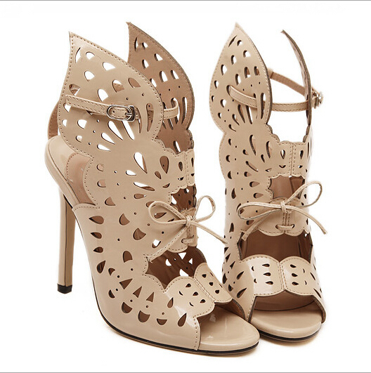 Angel wings high-heeled sandals, fashion sexy hollow buckle open-toed high heels Roman-style lace-up women's high-heeled sandals