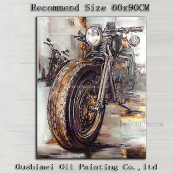üst Sanatçı El Boyalı Izlenim Soyut Motosiklet Yağlıboya Duvar