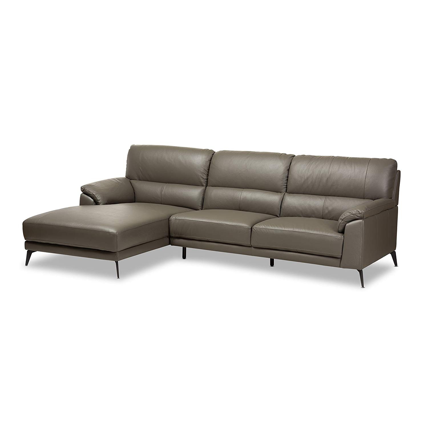 Baxton Studio Radford 2 Piece Leather Left Facing Sectional in Dark Gray