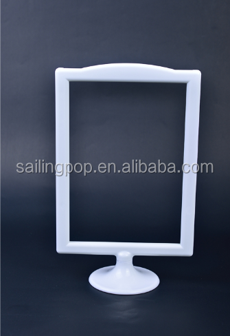 White photos plastic card table-top frame with round base for display