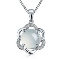 diamond jewelry pendant necklace round green jade 925 silver necklace