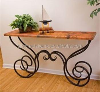 Table En Fer Decoratif Marbre Piedestal Rectangulaire Base De