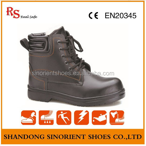 New fashionable black action leather police safety boots shoes with removable steel toe cap Formal work shoes RS103