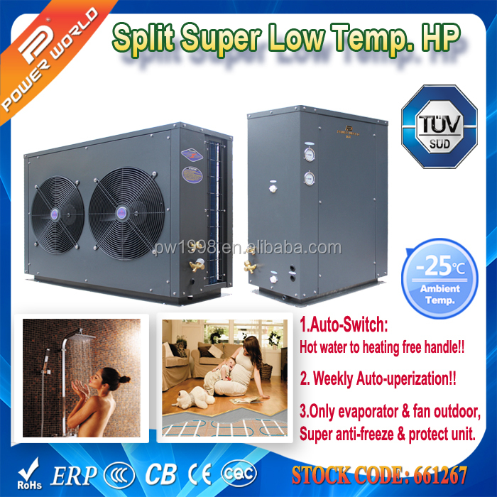 18.8kw Cold Area Big Indoor Unit Two-piece Style Air Source Heat Pump Water Heater for Home Warming & Heated Life Water