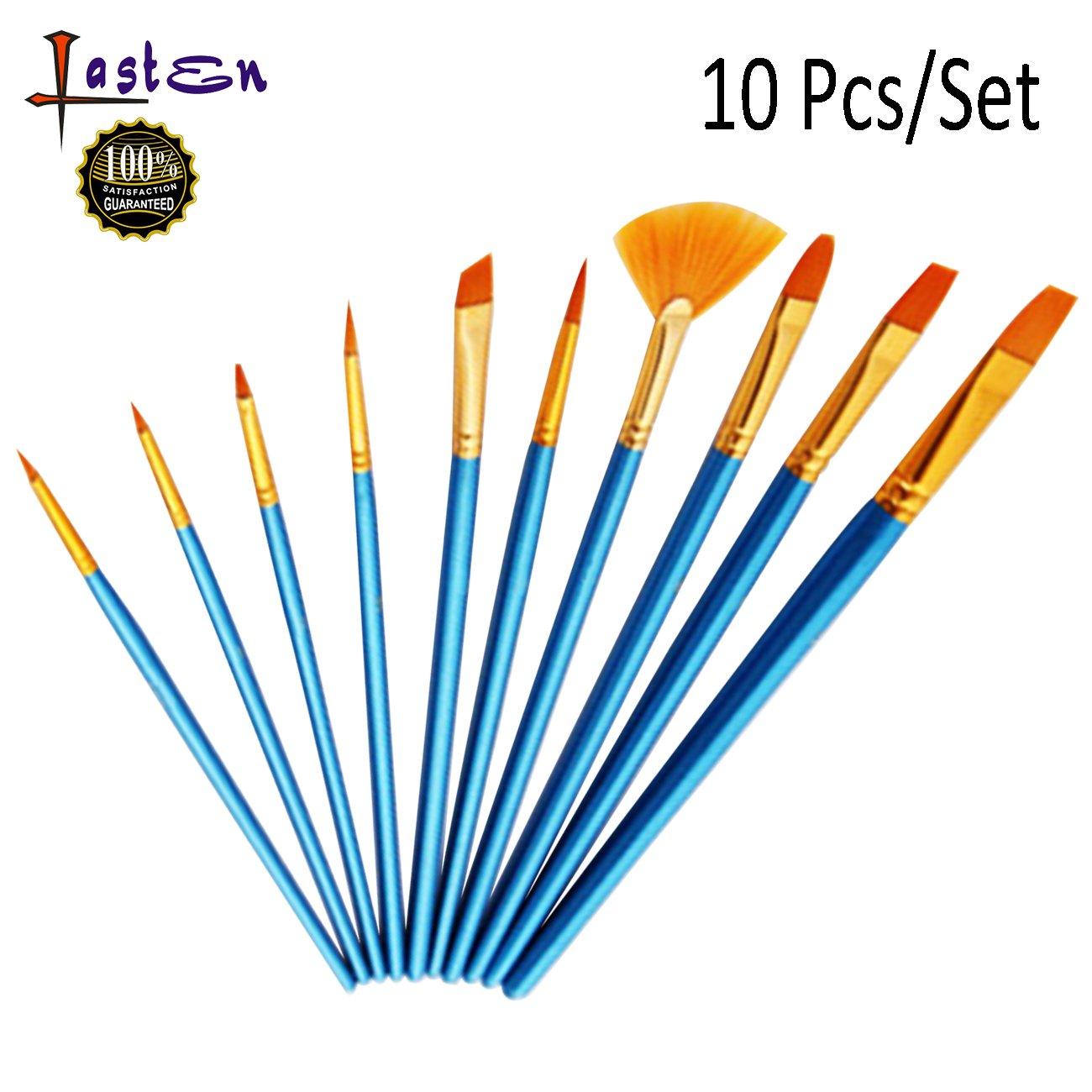Lasten Paint Brush Set, Professional Paint Brushes Nylon Hair Artist Acrylic Brush for Watercolor Oil Acrylic Gouache Painting(10 pcs/set)