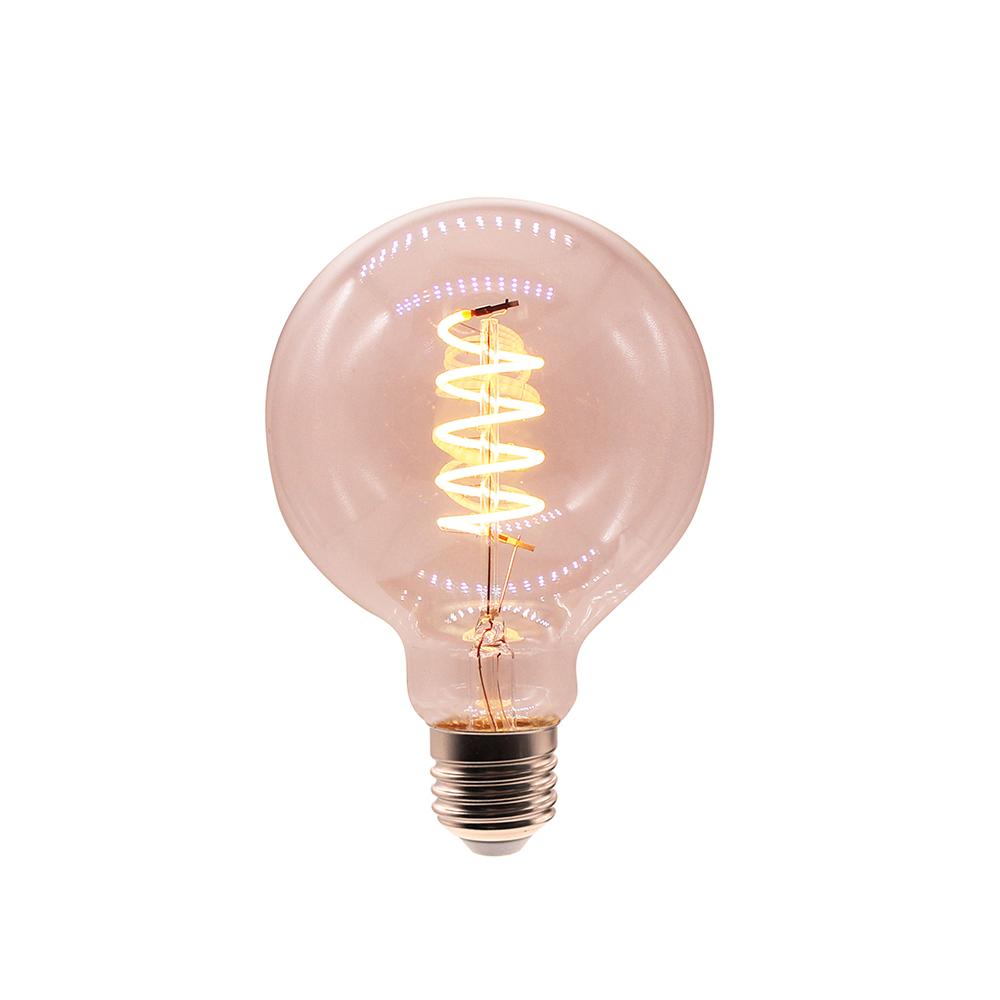 antique vintage globe e26 e27 G80,G95,G125 4w 2200K  led soft spiral flexible filament bulb