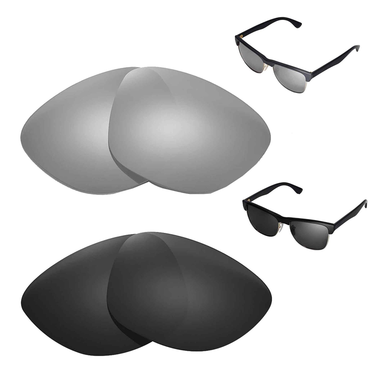 abd2636f2 Walleva Polarized Titanium + Black Replacement Lenses for Ray-Ban RB4175  57mm