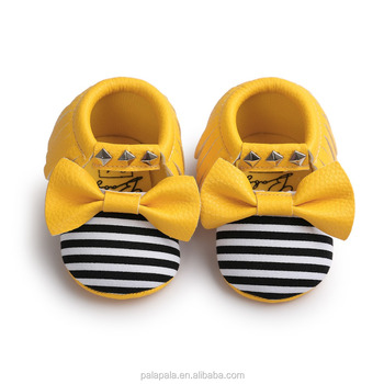 Gold Bow Moccasin Baby Girls Shoes