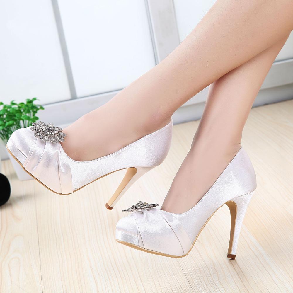 Women Wedding Shoes Round Toe Rhinestones White Ivory High