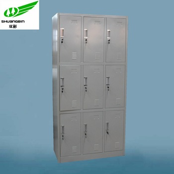 makro office furniture steel locker cabinet/9 door 3 tier gym