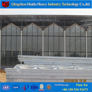 Galvanized steel structure glass cover used commercial greenhouses
