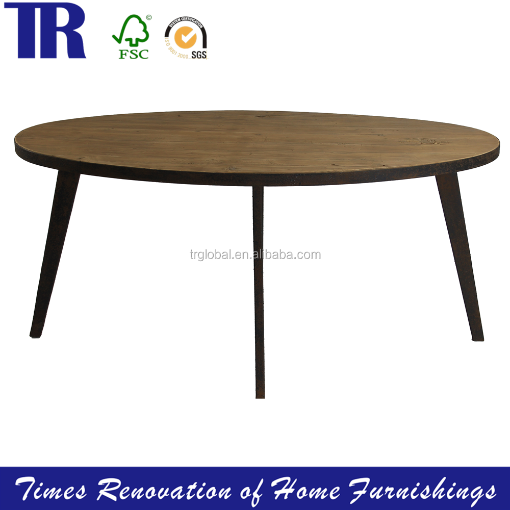 solid wood slab coffee tables,mental frame dining table,old fir top Round Table