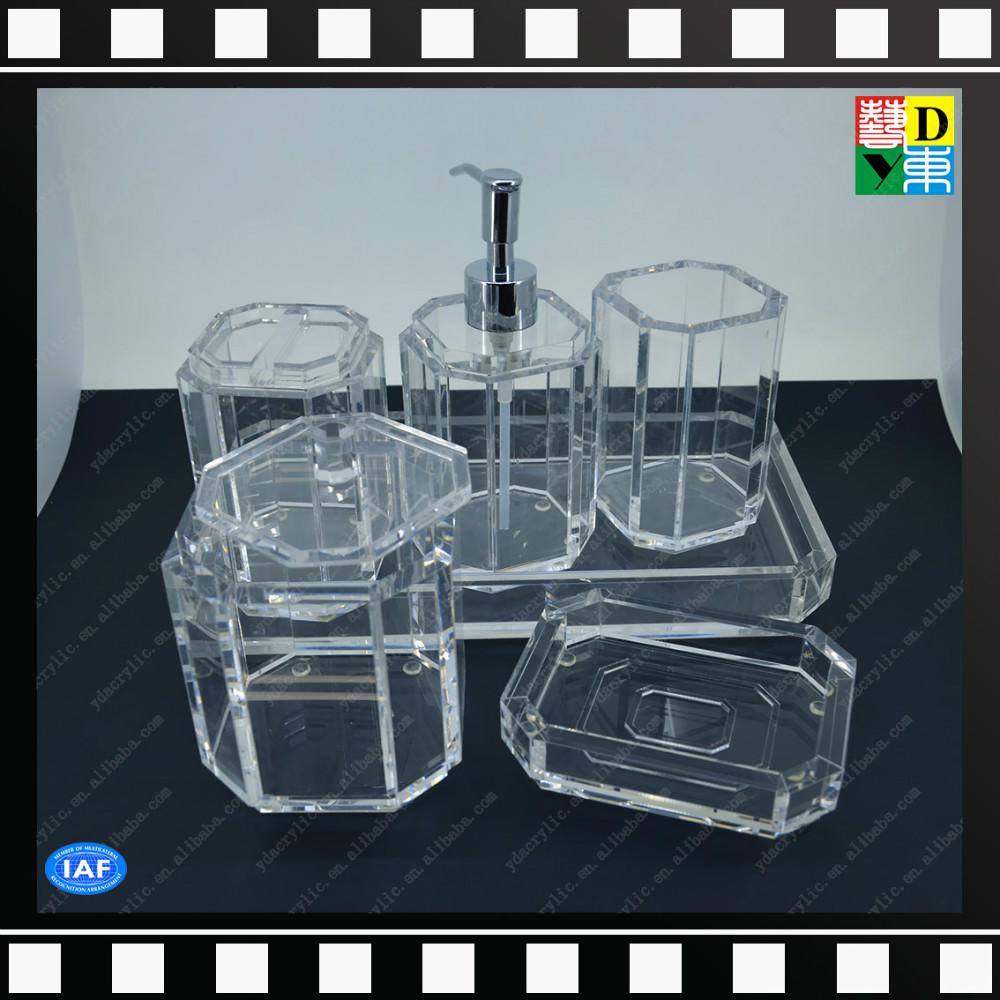 custom design clear acrylic bathroom accessories sets of