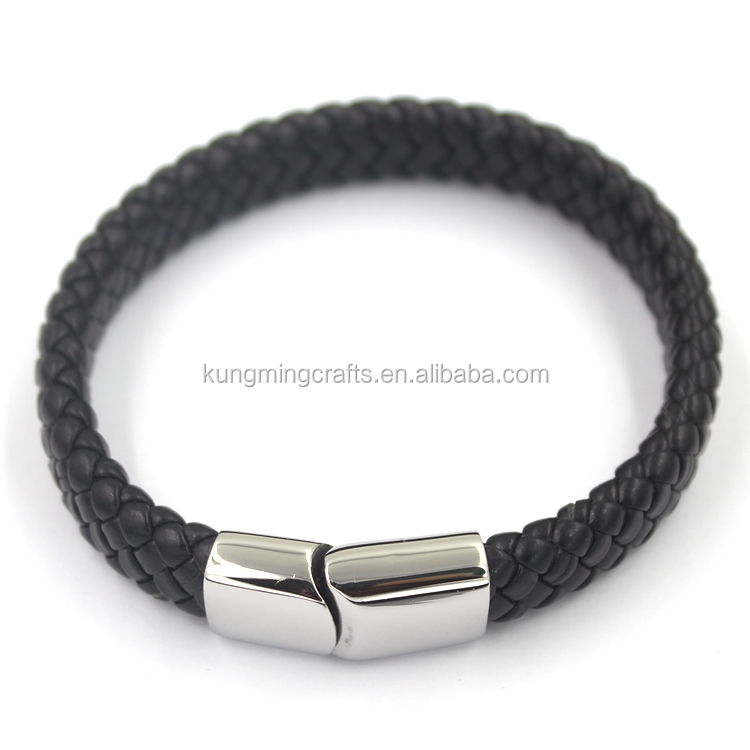 2017 Fashion Clasp Design Custom Mens Handmade Woven Braided Leather Bracelet Wholesale