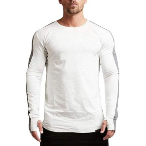 New Design men's gym wear round collars long stripe sleeves color sleeve T shirts in stock /OEM Custom ts-322