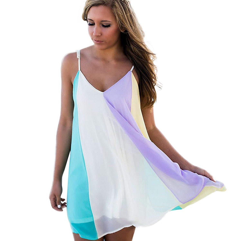 TOOPOOT Womens Dress,Spring Summer Rainbow Colorful Print Sleeveless Tunic Tops T Shirt Casual Mini Dress