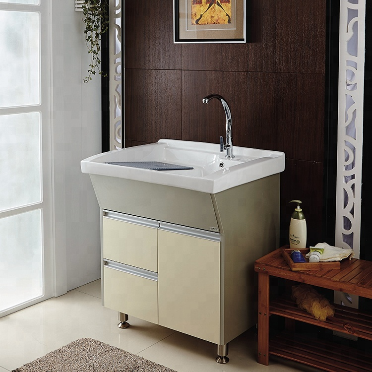 Modern New Design Floor Mounted Pvc Mdf Hand Wash Laundry Sink Cabinet With Board