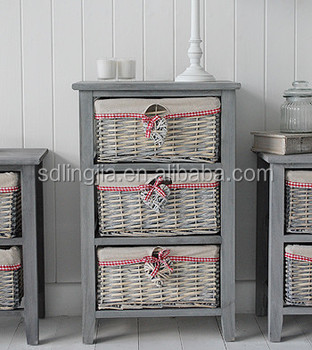 Lined Grey Wooden Drawer Cabinet Wicker Furniture CD Storage Drawer