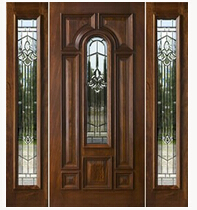 Us Exterior Door Custom Design Single With Glass Mohogany Wood Fashion Simple