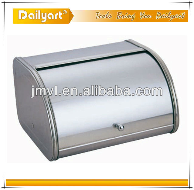 "Brushed Stainless Steel Rolltop 2-Loaf Capacity Bread Box, 11"" X 10"" X 6"""