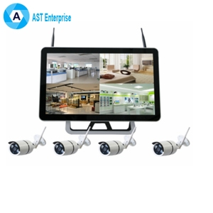 Wireless Security Camera System 4CH Video Surveillance System 1080P 15 Inch DVR Monitor 4pcs IP Network Bullet Camera RemoteView