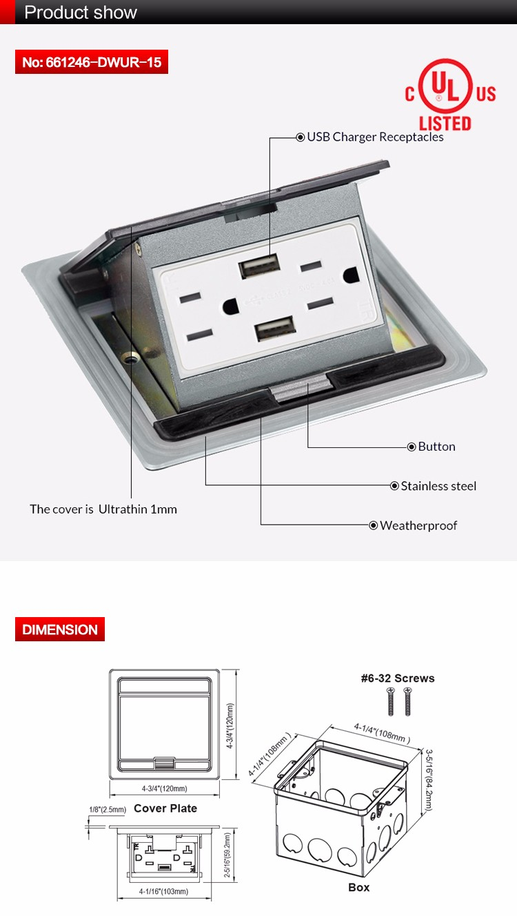 Ultra Thin Pop Up Floor Box With Usb