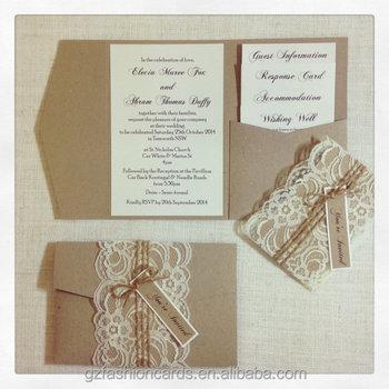Rustic Shabby Chic Lace Pocketfold Wedding Invitations Buy Rustic