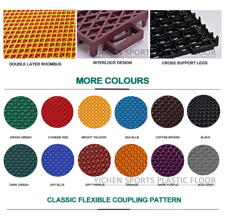 Đầy màu sắc 13mm Lồng Vào Nhau PP Tiles Tầng đối với Bóng Rổ Tòa Án và Sân Chơi