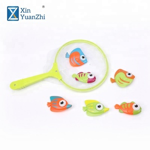 kids summer water game plastic bath fishing toy with net bag