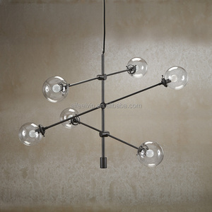 Vintage style chandelier clear/white glass ball chandelier parts decorative pendant lamp for hotel or living room