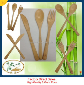 bamboo handle cutlery sets of three for kids with spoon knife and fork