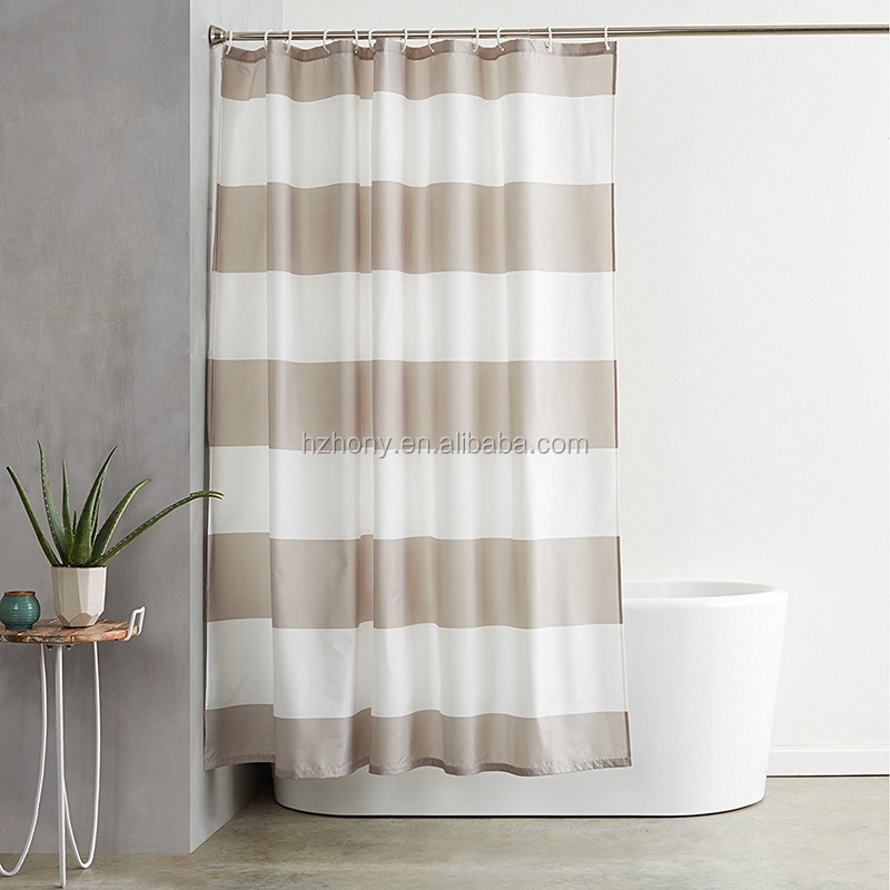 Treated to Resist Deterioration by Mildew 72 x 72 inches Grey Stripe Shower Curtain with Hooks