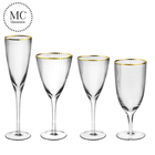 Gold rimmed custom personalized large wine glass set