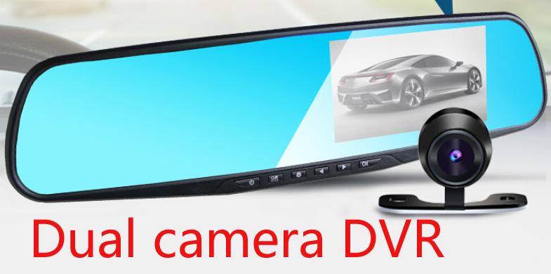 С двумя объективами автомобильный видеорегистратор зеркало заднего вида большой 4.3 дюймов TFT экран Full HD 1920 * 1080 P зеркало заднего вида камеры рекордер