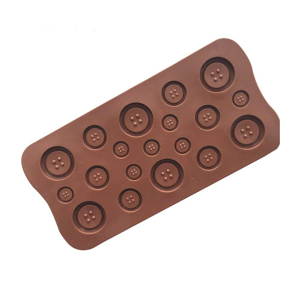OUNONA Nonstick Silicone Chocolate Cookie Molds Fondant Moulds Sugar Craft Cupcake Decorating Tools Bakeware 3D Button Shape(Chocolate)