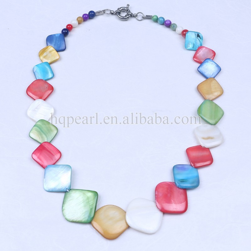 square shape mother of pearl necklace,mother of pearl shell necklace