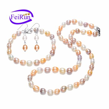 7mm Multi Color Oval Shape Whole Factory Price Teardrop Pearl Necklace Earring Set