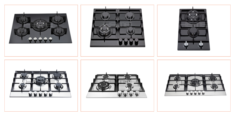 Cooking appliances counter top built in gas stove 5 burners stainless steel gas cooktop
