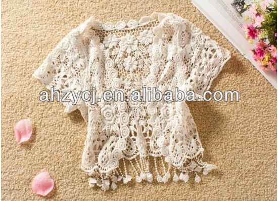 China hot new ladies clothes knitwear tops perspective crochet blouse short sleeve women lace cardigan