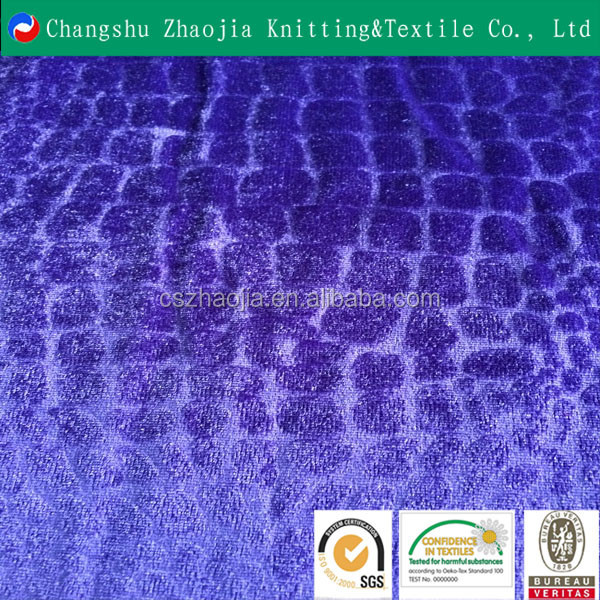 China supplier crocodile embossed upholstery velvet fabric