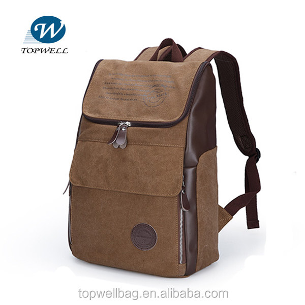 Waterproof Strong leisure shoulder bag laptop simple travelling canvas leather backpack